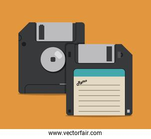 Retro diskettes design, Vector illustration