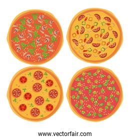 Pizza and ingredients set icons