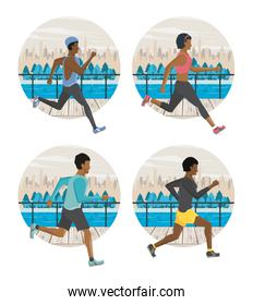 Fitness people running round icons set