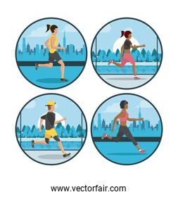 Fitness people running round icons