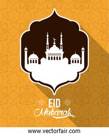 eid mubarak design with mosque silhouette