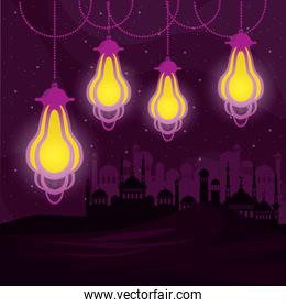 mosque silhouette and islamic lamps