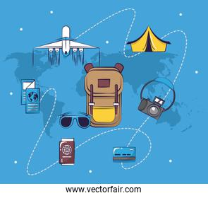 Traveling tourism exciting trip collection card background