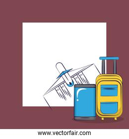 Traveling tourism exciting trip card squared frame background