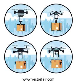 Drones delivering box in round frames