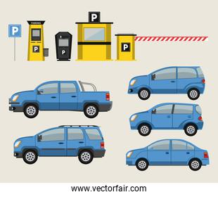 Cars and park lot icons