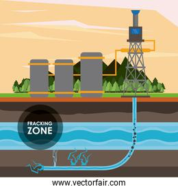 Fracking zone and oil industry