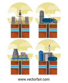 Fracking zone and oil industry emblems