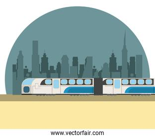 City and train transport scenery