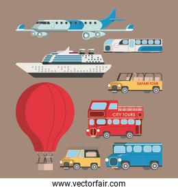 Vehicles aircrafts and ship icons