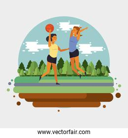 People training basketball at park cartoon
