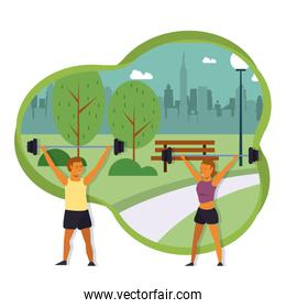 Fitness people training at park