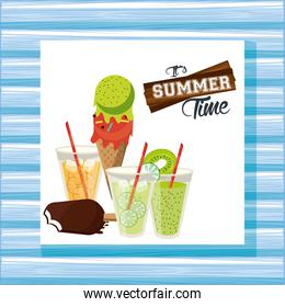 Summer time and vacations card poster