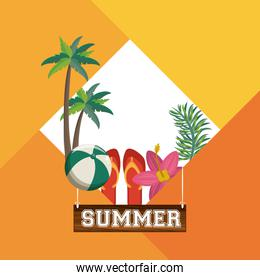 Summer beach and vacation card