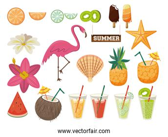 Summer and beach set of icons