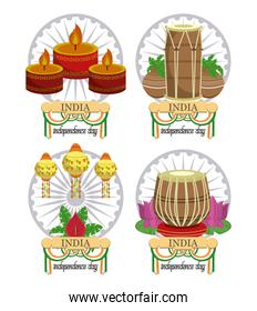 Set of India independence day cards colorful