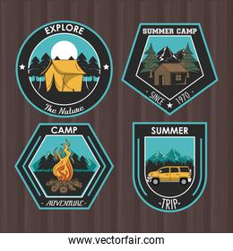 Set of Camping explore summer patches emblems