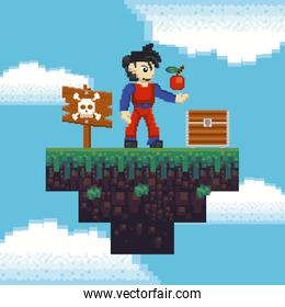 Retro videogame pixelated scenery