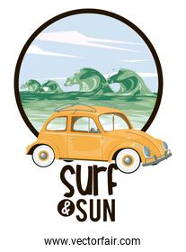 Surf and sun summer card cartoons