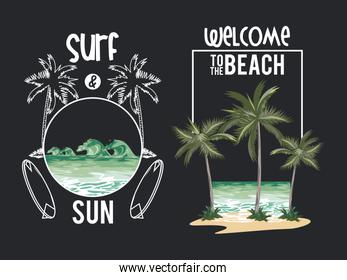 Beach and summer set of cards