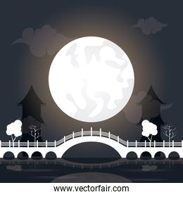 mid autumn festival scenery with moon