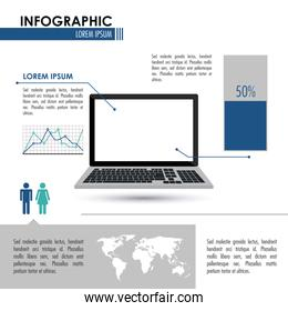 Infographic and laptop design , vector illustration