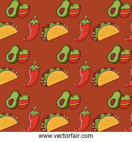Mexican food gastronomy background pattern
