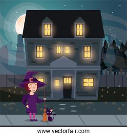 halloween dark scene with girl witch costume