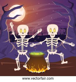 halloween dark scene with cauldron and skeletons