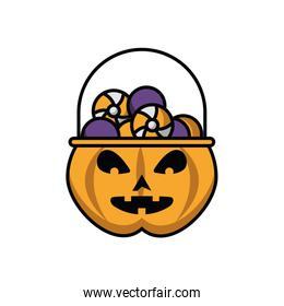pumpkin with candies halloween icons
