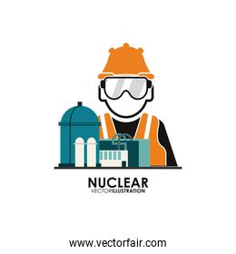 Nuclear design. worker and industry concept