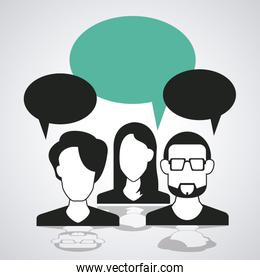 Bubble with couple of person icon. Communication design. vector