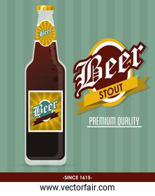 Beer bottle icon. Drink and beverage design. Vector graphic