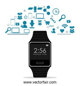 Watch and icon set. Wearable technology design. Vector graphic