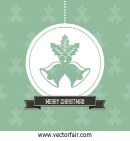 Sphere and bell icon. Merry Christmas design. Vector graphic