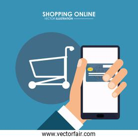 Smartphone, card and shopping cart. Shopping online. Vector grap