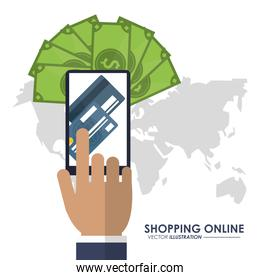 Smartphone, bills and credit card icon. Shopping online design.