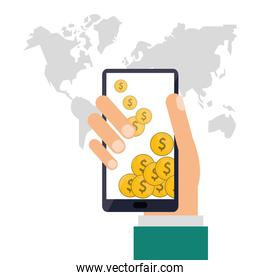 Smartphone and coins icon. Shopping online design. Vector graphi