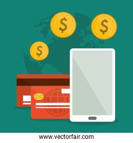 phone, card and coins icon. Shopping online design. Vector