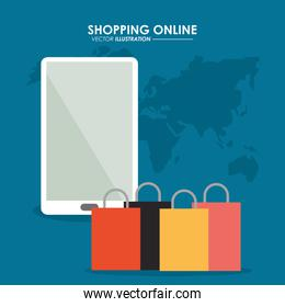 Smartphone and shopping bag icon. Shopping online design. Vector