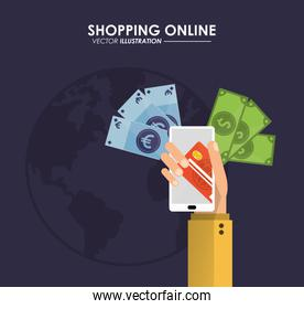 Smartphone and credit card icon. Shopping online design. Vector