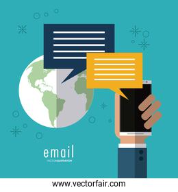 phone and bubble icon. Email design. Vector graphic