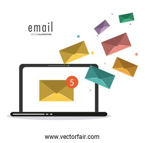 envelope and laptop icon. Email design. Vector graphic