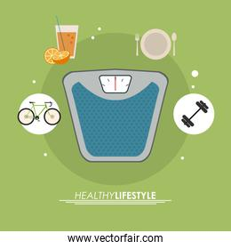 weight juice bike icon. Healthy lifestyle design. Vector graphic
