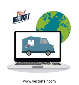 truck inside laptop icon. Fast delivery design. Vector graphic