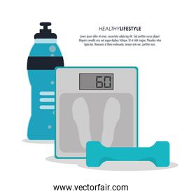 scale weight and bottle icon. Fitness design. Vector graphic