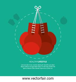 boxing gloves icon. Fitness design. Vector graphic