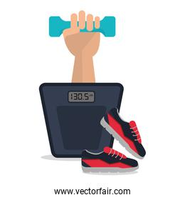 scale weight shoes icon. Fitness design. Vector graphic