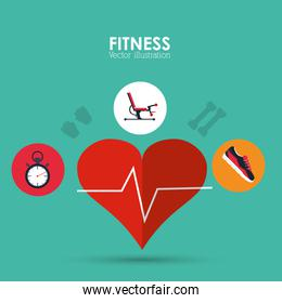 heart machine chronometer and shoes icon. Fitness design. Vector