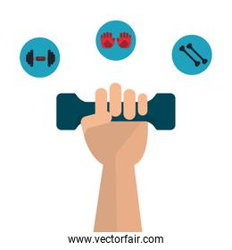 weight and gloves icon. Fitness design. Vector graphic
